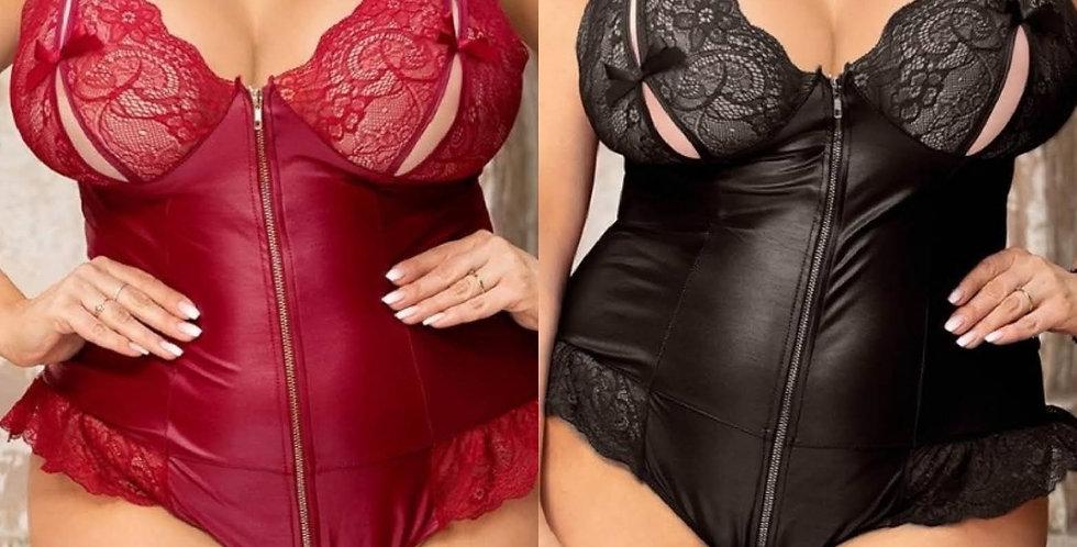 GiGi Leather Look ZIp Body ~ Red or Black