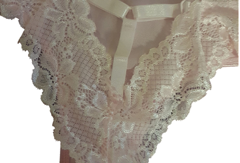 Pretty in Pink DOLLY Lace Back Brazillian Style Panties Knickers