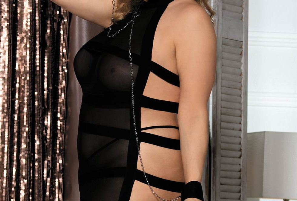 MISTRESS of the Night Sheer Strappy Back Chemise Babydoll with Chains