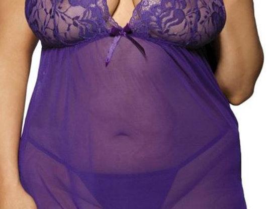 Stunning VANYA Sheer Purple Chiffon & Lace Halterneck Babydoll & Thong Set