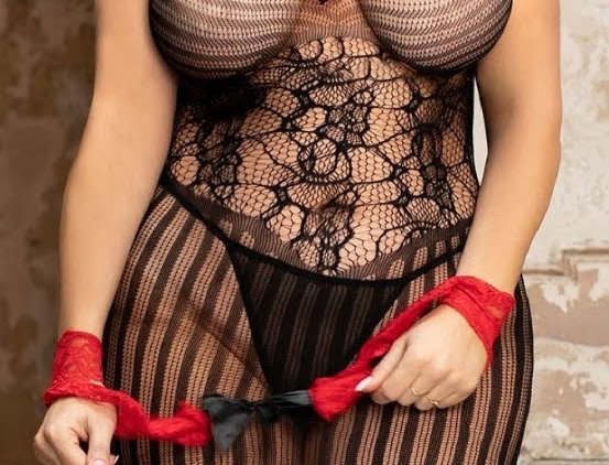 FANTASY Red & Black Fishnet Dress with Hand Ties