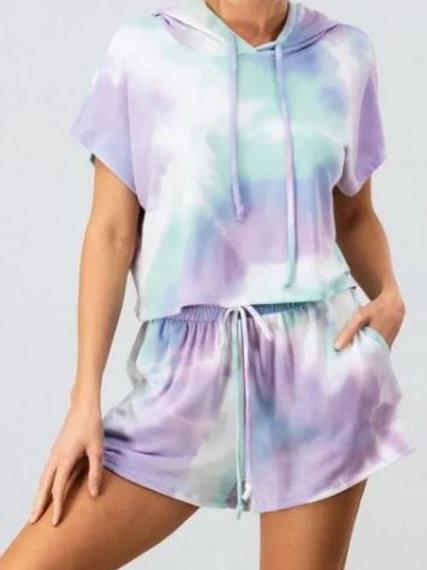 KICKIN IT 2 Piece Oversized Hooded Tie Dye Lounge / PJ Shorts Set