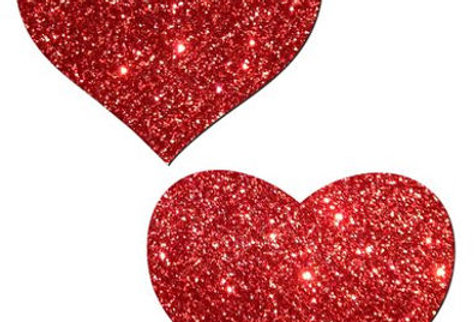 Red Glitter Hearts Pasties / Nipple Covers