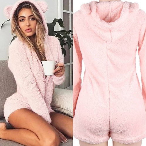 FLUFFY Teddy Style ROMPER Loungewear PJ All In One with ears! Sexy Romper