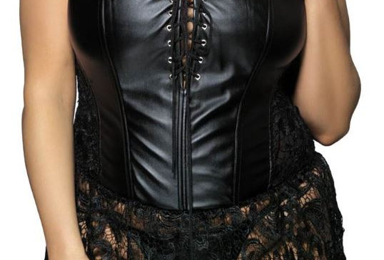 GALDA Faux Leather & Lace Corset ~ Black