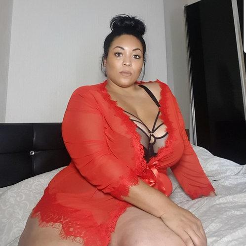 Scarlet Passion Robe & Thong Set