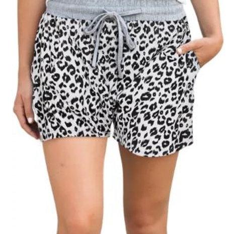 IN THE JUNGLE Whte Leopard Loungewear Shorts