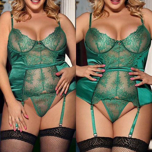 JADE Waist Cinching Ribbon Detail Basque & Thong