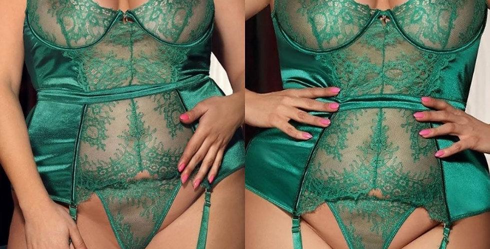 JADE Waist Cinching Ribbon Detail Basque & Thong