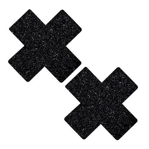 Black Glitter Cross Pasties / Nipple Covers