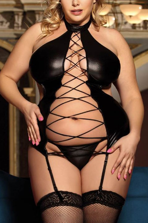 BIANCA Naughty but Nice Leather Look Tie Back Chemise with Thong