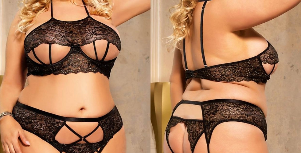 Bad Girl Sexy Open Cup 3 Piece Bralette Set - Black