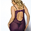 Thumbnail: CALI Gartered Satin Babydoll with Cut Out Back & Thong Set Purple or Black