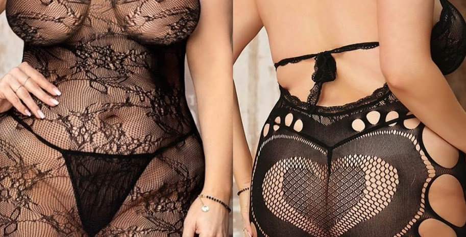 PEACH Cheeky Fishnet Dress - Heart Design