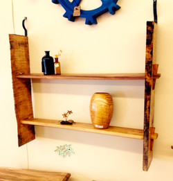 Live Edge Tiger Maple Hanging Shelf