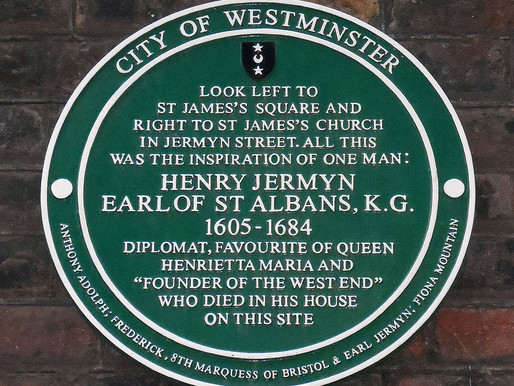 A plaque Commemorating Henry Jermyn, The Founder of London's West End, Unveiled in St James's Square