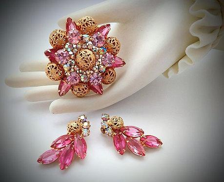 De Lizza & Elster aka Juliana Pink Brooch & Earring Set