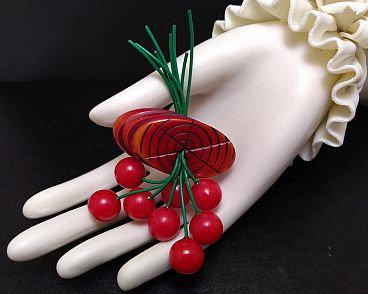 Bakelite Cherries Pin