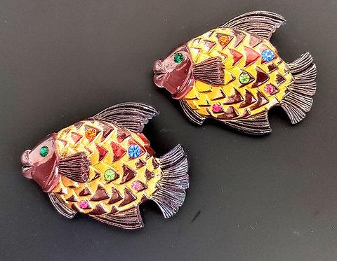 Lucite Fish Pins - Pair