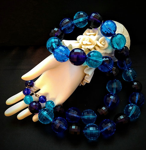 Vintage Blue Lucite Faceted Beaded Necklace