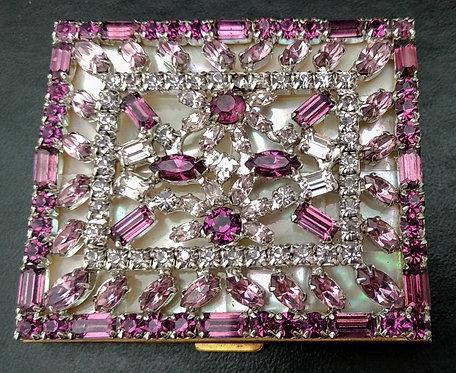 Marhill Compact Mother of Pearl  & Purple Rhinestones
