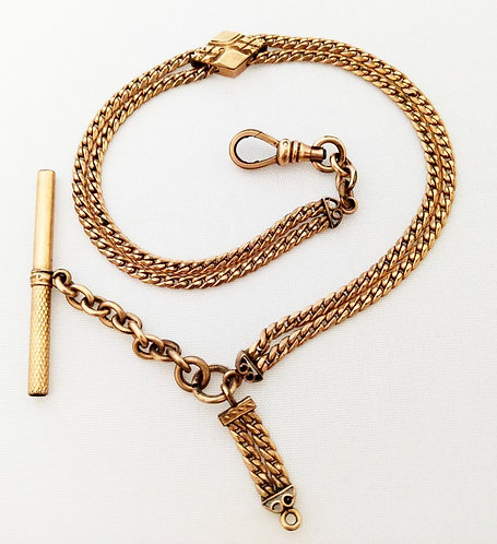 Victorian Rose Gold Watch Fob Chain