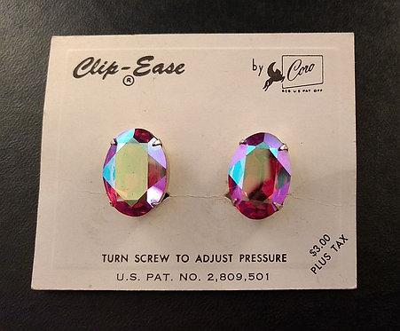 Coro Clip-Ease Red Aurora Borealis Oval Earrings