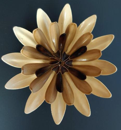 1960's Flower Power Dimensional Mocha Enamel Pin