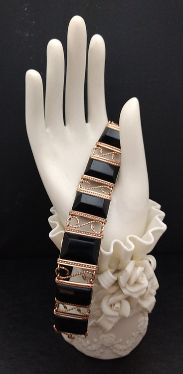 Black Lucite Rolled Gold Wire Art Bracelet