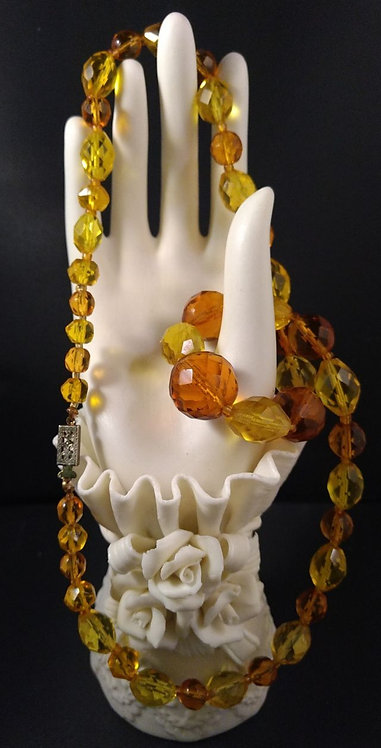 Shades of Amber & Yellow Faceted Crystal Bead Necklace