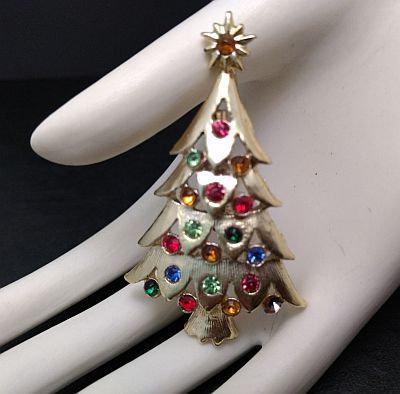 Vintage Christmas Tree Multi Colored Rhinestones