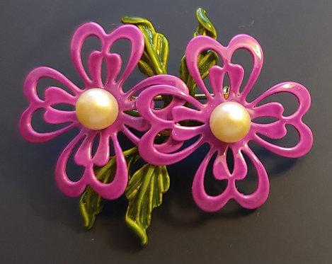 Purple Enamel Flower Pin