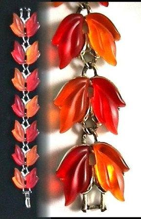 Translucent Orange Lucite Leaf Bracelet