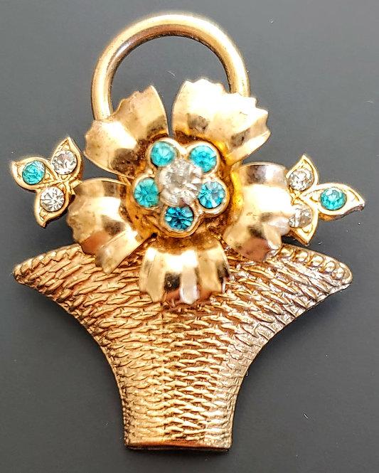 Coro Flower Basket Pin