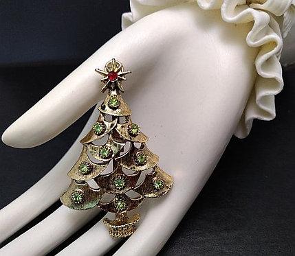 Vintage Christmas Tree Green Rhinestones