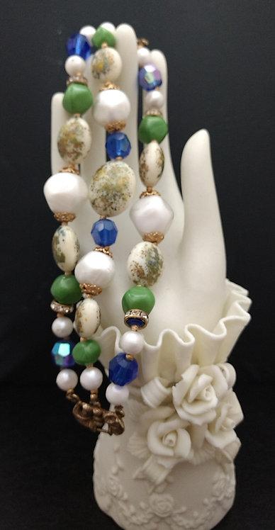 1950's Deauville Three Strand Beaded Bracelet