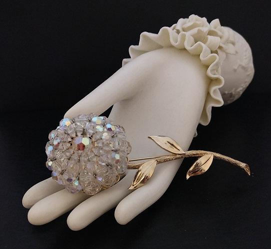 LARGE Vendome Aurora Borealis Crystal Flower Pin