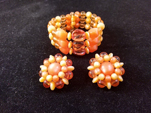 Vintage Plastic Orange Beaded Wire Wrap Bracelet & Earring Set