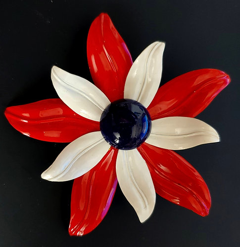 1960's Flower Power Red White Blue Enamel Pin