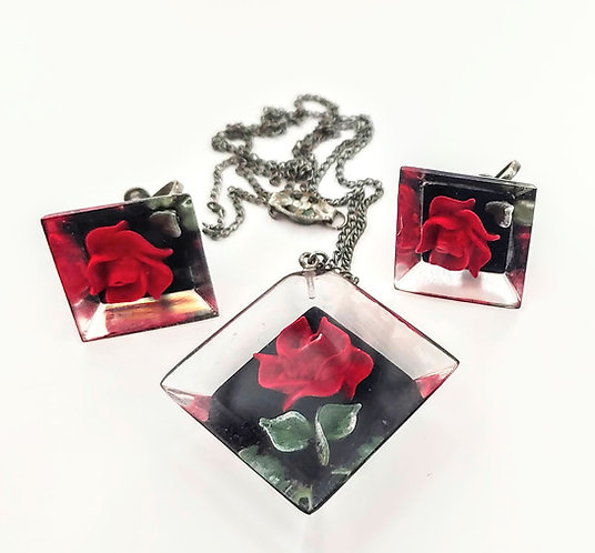 Reverse Carved Lucite Roses Necklace Earrings