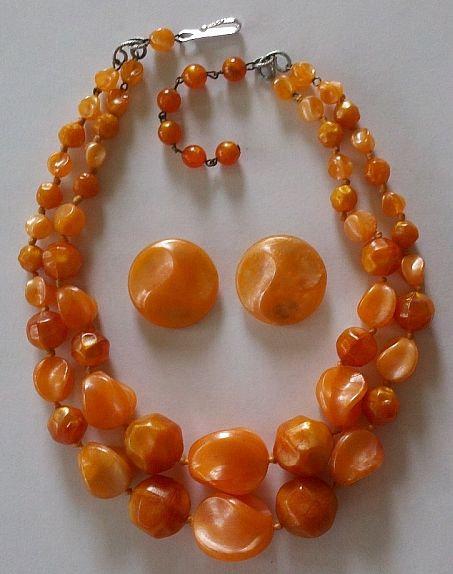 Orange Beaded Demi-Parure -Western Germany - j30512