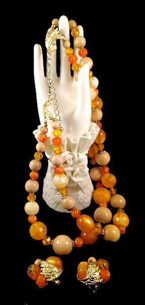 Signed ART Orange Lucite & Wood Bead Necklace & Earring Set