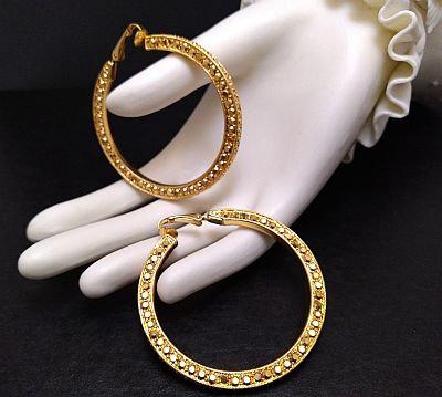 Kenneth Lane Gold Rhinestones Large Hoop Earrings