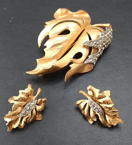 Florenza Leaf Brooch/Pin & Earring Demi-Parure