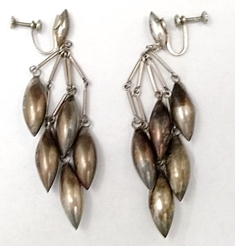 Mexican Sterling Puffy Cone Earrings