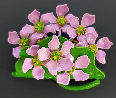 1960's Flower Power Pin - Violets