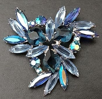 Czechoslovakia Shades of Blue Brooch Pin