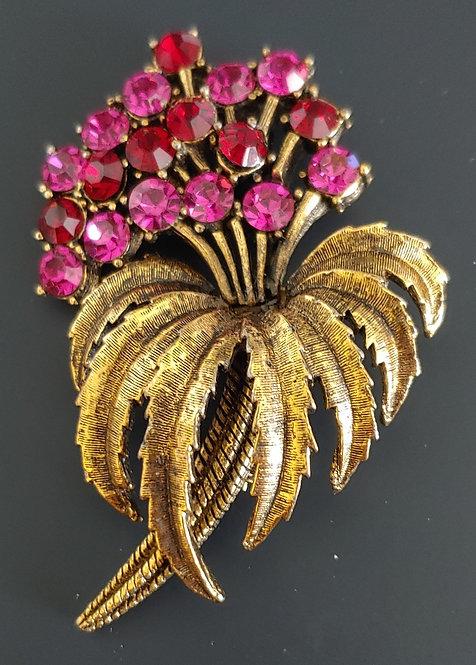 Fuchsia rhinestone flower pin