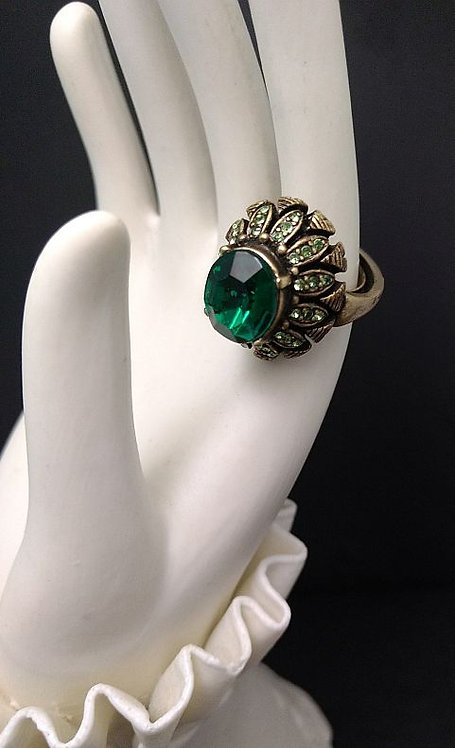 1980's Hobe Green Rhinestone Fashion Ring