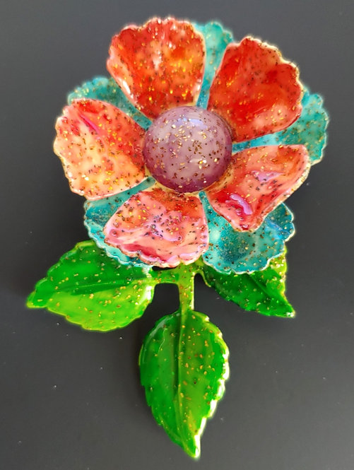 1960's Flower Power Glitter Pin - Made In Germany